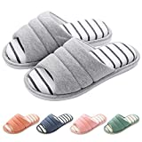 shevalues Women's Memory Foam Slippers Cotton SPA Slippers Winter Warm Open Toe House Slippers Grey Large