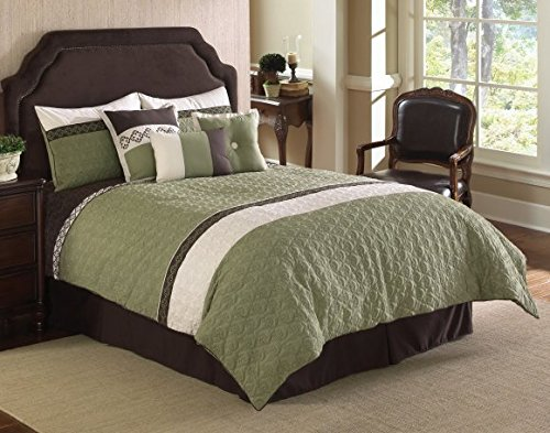 Riverbrook Home 77357 Fairmont Comforter Set, Green/White, 7-Piece, Queen (Fairmont Bed Set)