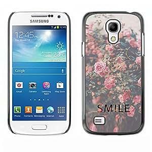 Sonrisa motivación Vignette Roses - Metal de aluminio y de plástico duro Caja del teléfono - Negro - Samsung Galaxy S4 Mini i9190 (NOT S4)