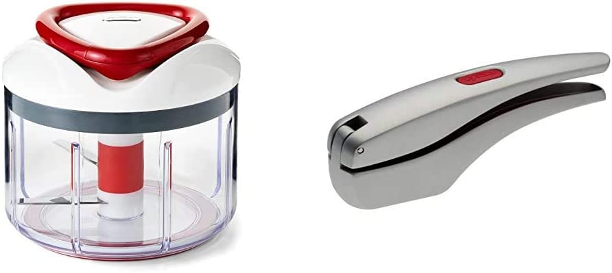 """ZYLISS Easy Pull Food Chopper and Manual Food Processor - Vegetable Slicer and Dicer - Hand Held & Susi 3 Garlic Press """"No Need To Peel"""" - Built in Cleaner - Crusher, Mincer and Peeler, Cast Aluminum"""