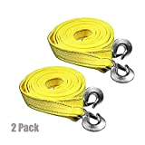 AA Products Heavy Duty 11,000lbs Tow Straps with Double J Hooks - Length (2'' X 20 ft) 2 Pack