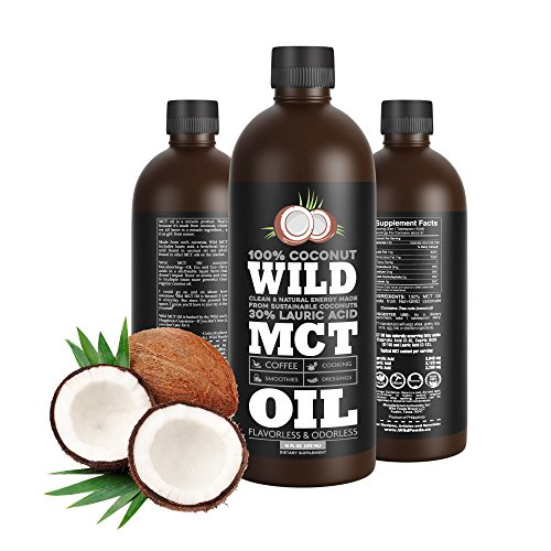 Wild MCT Oil with Lauric Acid Made From 100% Sustainable Coconuts, Flavorless, Odorless, Supplement, 16oz BPA-FREE Bottle, Non-GMO, Guaranteed Premium Quality and Sourcing (Mct Oil Organic)