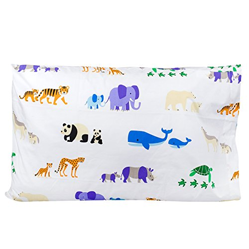 Wildkin 100% Cotton Pillow Case, Bold Patterns Coordinate with Other Bedding and Room Décor, Olive Kids Design – Endangered Animals - Bold Animal