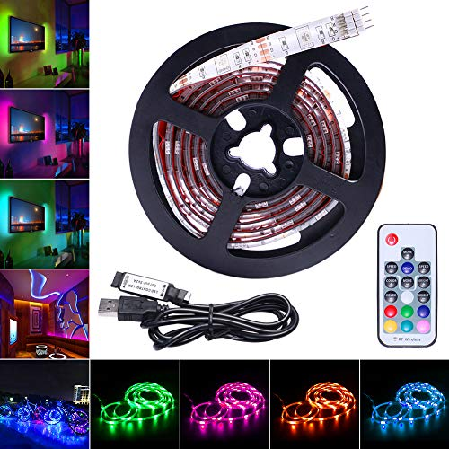 AVAWAY LED Strip Lights RGB, USB Powered 5V SMD 5050 LED Light Strips Backlight with 17 Keys RF Remote Control for TV Background Lighting PC Notebook Home Decoration 39Inches/1M -