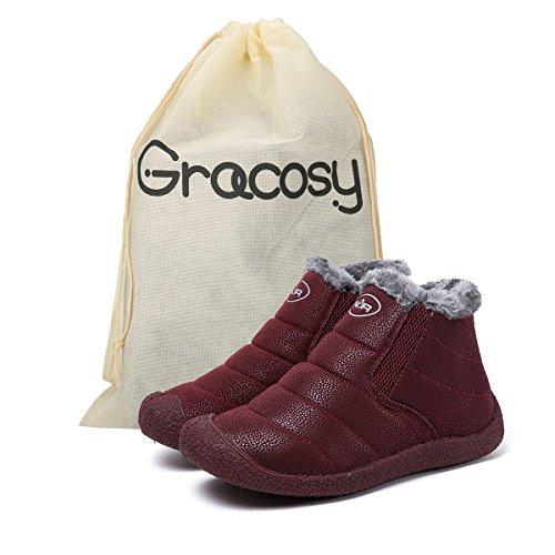 Impermeables de Rouge Zapatos vineux Aire Boots Tobillo Gracosy Zapatos Planas Nieve Botines Cortas Calientes Cortas Boots Libre Mujer Invierno Fur Botas Forradas Botines FwCqXX