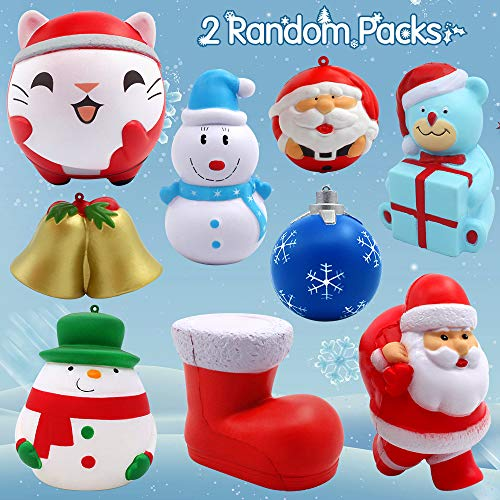 FLY2SKY Jumbo Squishies, Slow Rising Jumbo Squishies Toys for Stress Release for Kids and Christmas Decorations(2PCS Random Pack)