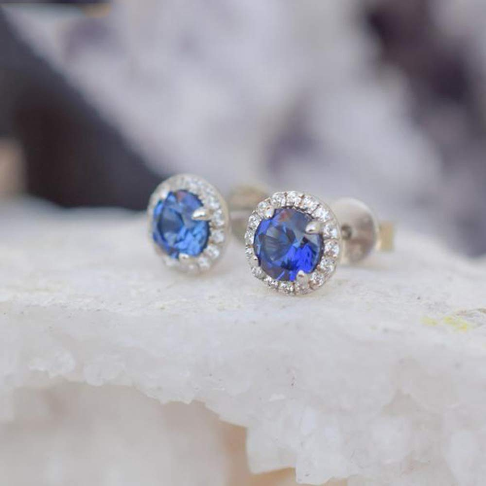 6mm Round Cut Blue Sapphire /& Diamond Wedding Stud Earrings .925 Sterling Silver For Womens /& Girls
