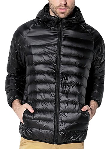 Hooded Coat S Puffer Hood Down Men's Packable EKU Black Jacket US With Hq5xgvT