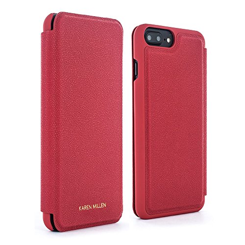 Official Karen Millen Folio protective Case / Cover with Card Slot for iPhone 7 Plus / 6 Plus – Goji - Karen Designer Millen