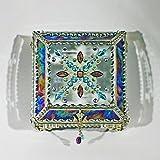 Jewel Encrusted 4X4 SILVER Glass Treasure Jewelry Box Swarovski Crystals USA made