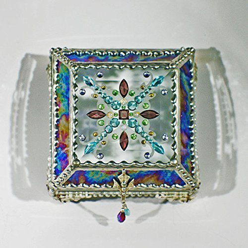 Jewel Encrusted 4X4 SILVER Glass Treasure Jewelry Box Swarovski Crystals USA made by Glass Treasure Box
