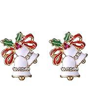 Da.Wa Aleación del árbol de Navidad Pendiente Novedad Pendientes Jingle Bells Eardrop Xmas Gift Party Studs