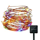 Cheap Solar String Lights Outdoor 100LED Copper Wire Waterproof Powered Starry String Lights Ambiance Lighting for Patio Garden Bedroom Camping Christmas Party Wedding decor (39 feet Multicolor)