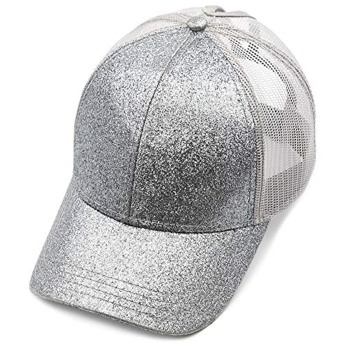 C.C Hatsandscarf Ponytail caps Messy Buns Trucker Plain Baseball Cap (BT-6) (Glitter-Grey)