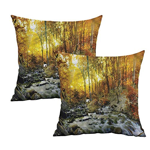 Khaki home Landscape Square Standard Pillowcase Autumn Leaves and Creek Square Throw Pillow Covers Cushion Cases Pillowcases for Sofa Bedroom Car W 16