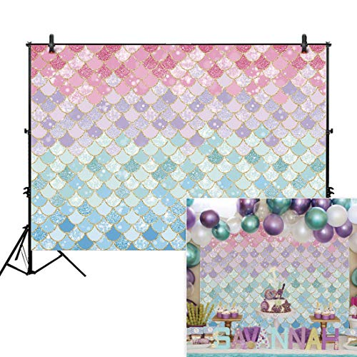 Allenjoy 7x5ft Soft Fabric Pastle Little Mermaid Scales Backdrop for Photography Pictures Girls Birthday Party Gold Glitter Purple Pink Blue Newborn Princess Baby Shower Decoration Photo Booth Props]()