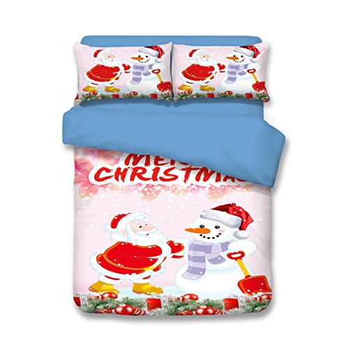 Christmas Snowman Bedding Sets - Polyester Reactive Printing Festival Gifts Home Decoration Twin Flat Sheet 10 Patterns by Sport Do