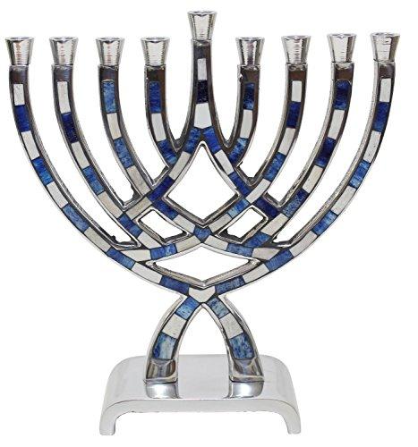 Lamp Lighters Ultimate Judaica Menorah Pewter Blue - - Lamp Menorah Hanukkah Brass
