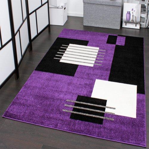 Paco Home Tapis De Créateur à Motif à Carreaux en Violet Noir Blanc,  Dimension:120x170 cm