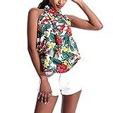 Hotkey Womens Tops Short Sleeve Casual Women Halter Strapless Floral Print Sleeveless Tops Blouse Vest Tank White