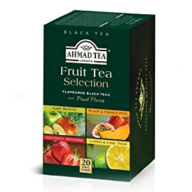 Ahmad Tea Fruit Tea Selection, 20-Count (Pack of 6) 58 Case of six boxes, each containing 20 foil-wrapped tea bags (120 total tea bags) Stimulating tea with a resonant, fruity aroma Enjoy the rare pleasure of a fine English tea