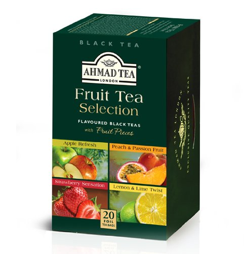 Ahmad Tea Fruit Tea Selection, 20-Count (Pack of 6) 1 Case of six boxes, each containing 20 foil-wrapped tea bags (120 total tea bags) Stimulating tea with a resonant, fruity aroma Enjoy the rare pleasure of a fine English tea
