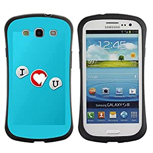 All-Round Hybrid Rubber Case Hard Cover Protective Accessory Gerneration-I Compatible with SAMSUNG GALAXY S3 & I9300 - I love you Typography