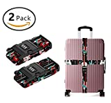 YEAHSPACE TSA Approved Combination Lock Rock And Roll Guitars Adjustable Luggage Straps 2-Pack For Suitcase Travel Belt