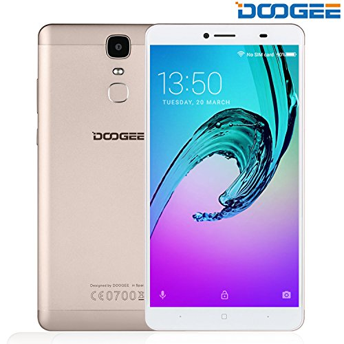 "Unlocked Cell Phones, DOOGEE Y6 MAX 4G Smartphone Unlocked Android 6.0 With 6.5"" FHD Screen - MT6750 64-Bit Octa Core - 3GB RAM + 32GB ROM - 4300mAh Battery - 5MP+13MP Dual Camera - Gold"