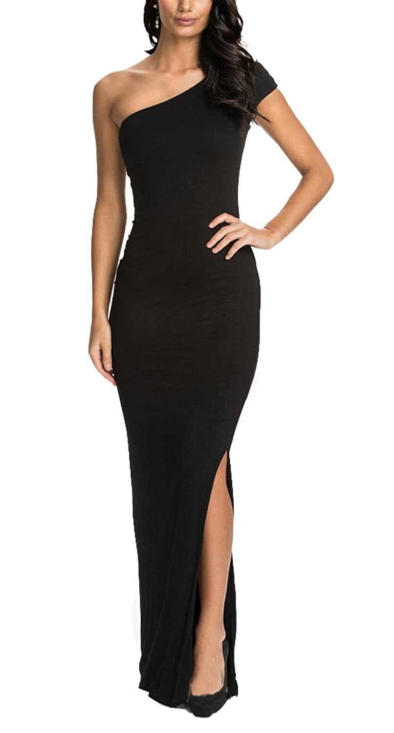 Lecheers Damen Split Side One-Shoulder Kleid Elegant Formal Maxi ...