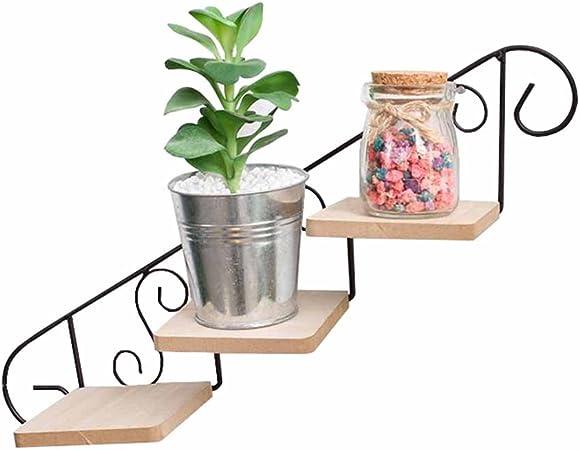 3 Escalera Escalera Flor Planta Olla Estante Estante Ganchos para colgar en la pared Estantes Flotantes