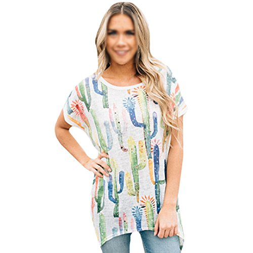 Cactus Print T-Shirt O-Neck Short Sleeve Shirt Side Slit Irregular Hem Tee Top Cover up White XL ()