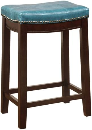 Linon Carson Blue Backless Counter Stool, Brown