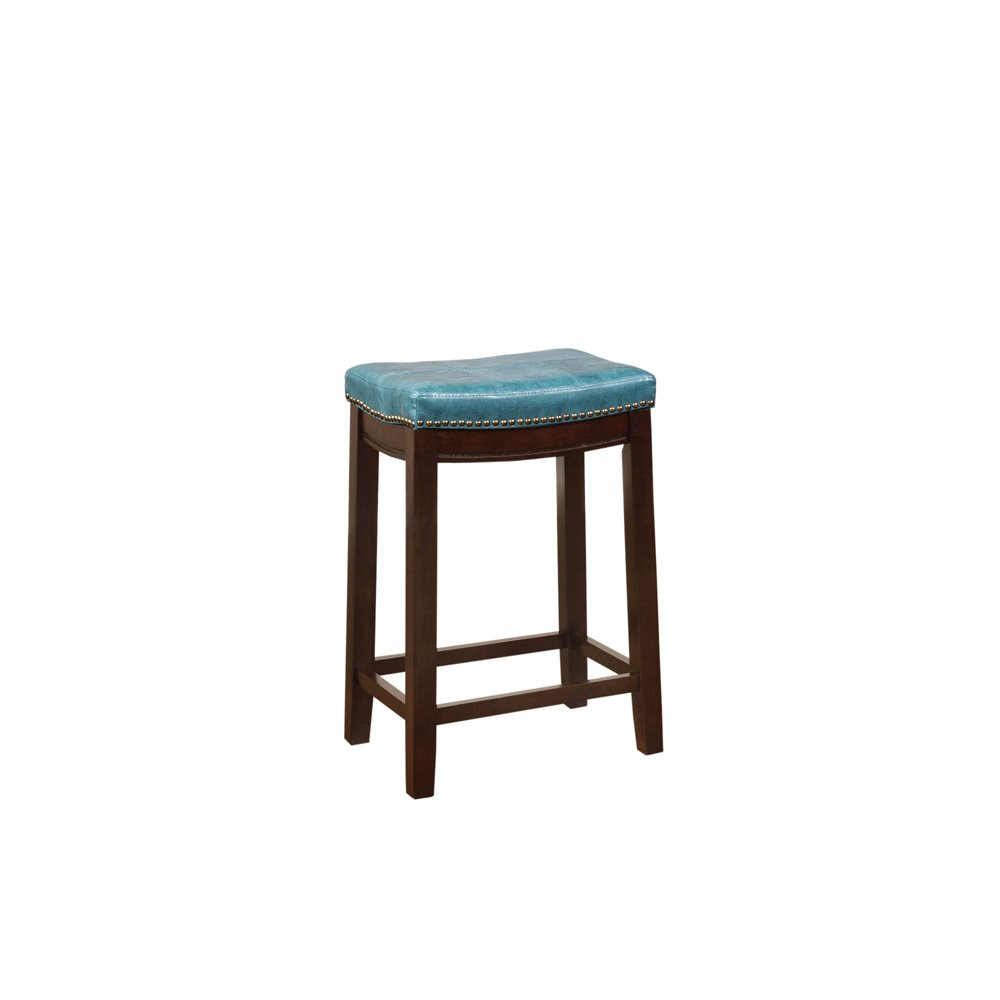 LinonCarson Blue Backless Counter Stool, Brown