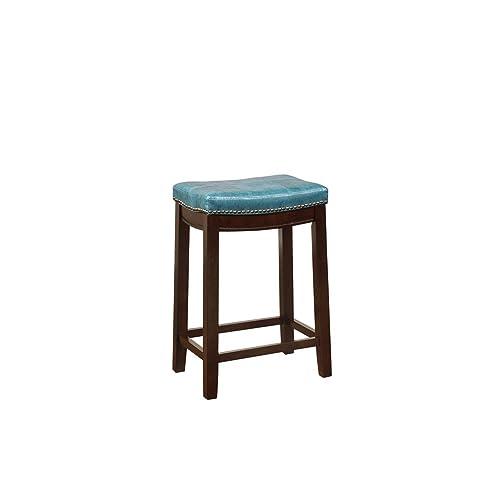 Linon Carson Blue Backless Counter Stool