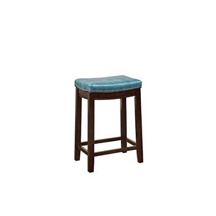 Amazing Linon Carson Blue Backless Counter Stool Brown Pabps2019 Chair Design Images Pabps2019Com