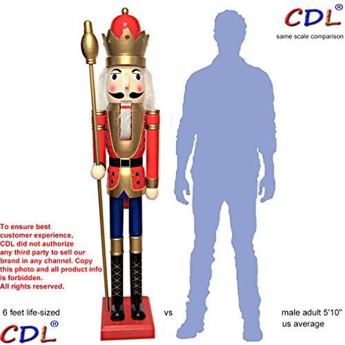 CDL 6ft tall life-size large/giant red Christmas wooden nutcracker king ornament on stand holds golden scepter for indoor outdoor Xmas/event/ceremonies/commercial decoration(6 feet, king red k01)