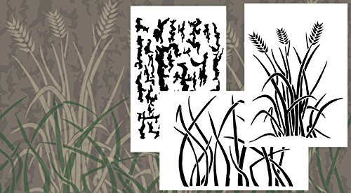"Acid Tactical 3 Pack - 9x14"" Grass tree Bark Camouflage Vinyl Airbrush Spray Paint Stencils - Duracoat Cerakote Gun"