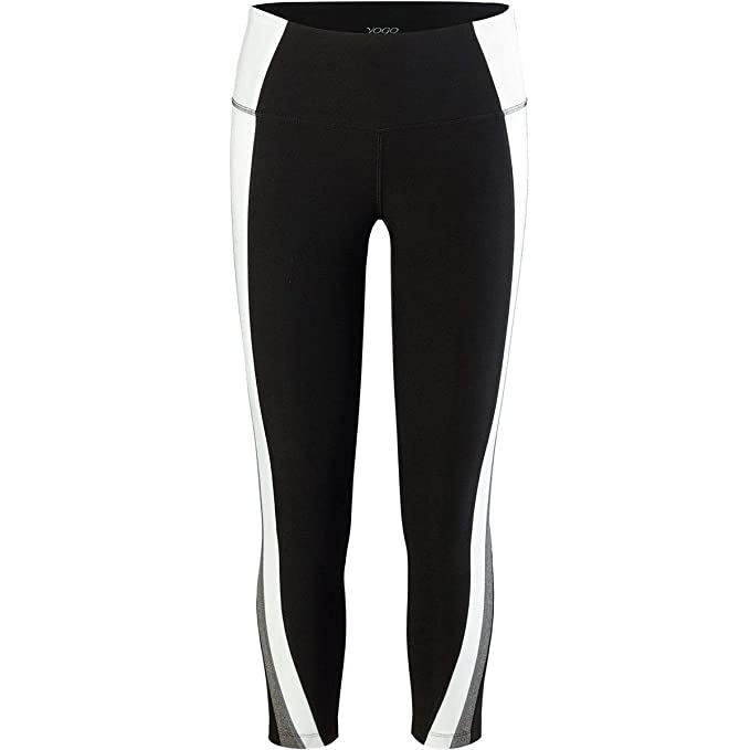 55d3252eb6590 Vogo Activewear Solid Color Block 7/8 Legging - Women's Black/White/Heather