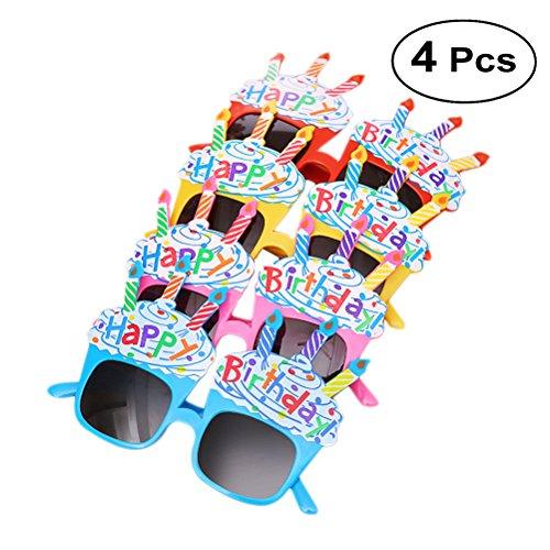 BESTOYARD 4pcs Happy Birthday Party Glasses Novelty Candle Sunglasses Fun Boys Girls Birthday Gift Props (Red + Blue + Pink + -