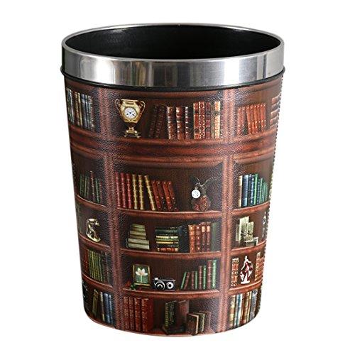 (Lingxuinfo 12L Retro Style PU Trash Can Wastebasket Waste Paper Bin Paper Basket Uncovered Waste Bin Dustbin Garbage Bin for Kitchen Bedroom Office (Bookcase)