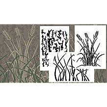"Acid Tactical® 3 Pack - 9x14"" Grass tree Bark Camouflage Vinyl Airbrush Spray Paint Stencils - Duracoat Cerakote Gun"