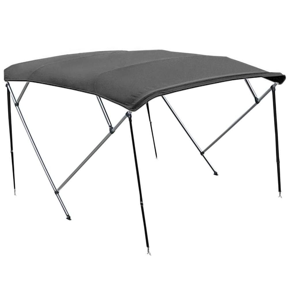 North East Harbor 4 Bow Boat Bimini Top Cover Gray With Zippered Boot Fits 91'-96' Width Beam V-Hull Fishing Ski Boat Runabout Pro Bass KapscoMoto