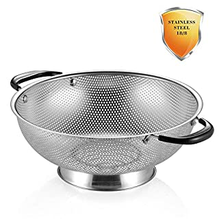 18/8 Stainless Steel Colander, Easy Grip Micro-Perforated 5-Quart Colander, Strainer with Riveted and Heat Resistant Handles, BPA Free. Great for Pasta, Noodles, Vegetables and Fruits