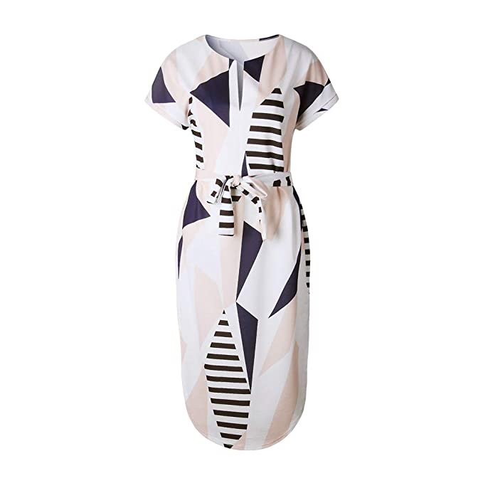 16d4e04d76a LitBud Womens Midi Dresses Summer V-Neck Short Sleeve Casual Office  Geometric Belted Dress at Amazon Women s Clothing store