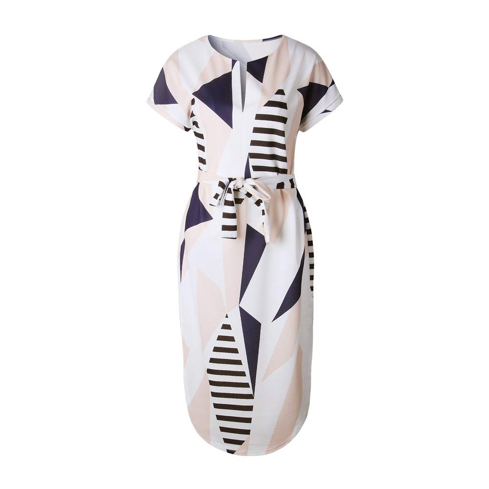 LitBud Womens Dresses Summer Casual Vintage Business Work Party Holiday Belted Shift Midi Tunic Dress for Ladies Apricot Plus Size 14 16 XXXL Easter