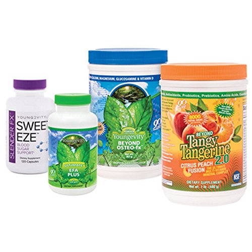 (Youngevity Healthy Body Blood Sugar Pack 2.0 (Beyond Tangy Tangerine 2.0, Osteo FX Powder, Ultimate EFA Plus, Slender FX Sweet Eze) (Ships Worldwide))