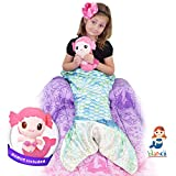 Blankii Kids Mermaid Tail Blanket Soft Minky Fleece with Blue And Green Scales And Mia the Doll For Twice The Fun! (Doll color may vary)