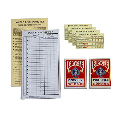 (Pinochle Score Pad Gift Set (Red): 40 Page Score Pad, Two Decks Red Bicycle Pinochle Playing Cards, Four Meld Tables and Double Pinochle Quick Reference Guide)