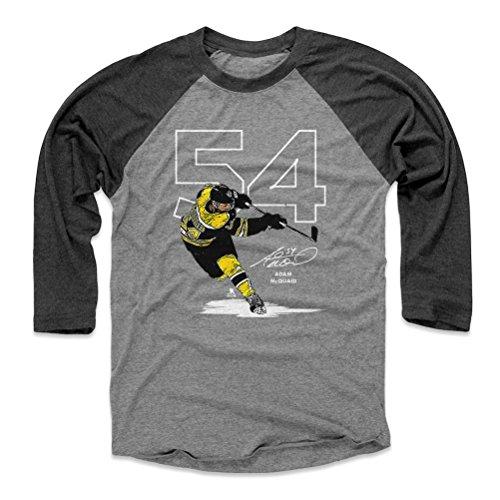 500 LEVEL Adam McQuaid Baseball Shirt Small Black/Heather Gray - Boston Hockey Fan Apparel - Adam McQuaid Number W WHT
